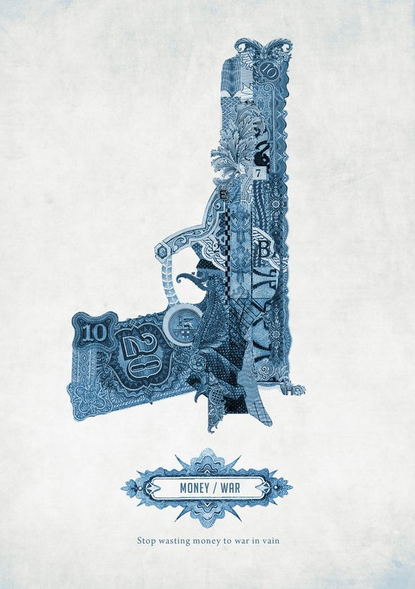 money war, posters made only with parts of money from all over the world, by Graziano Losa