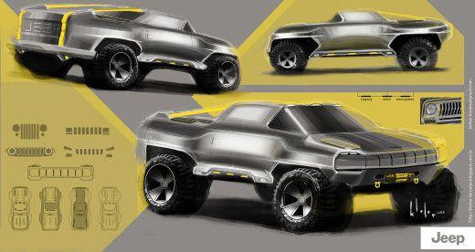 Проект Kleber Terradas —Jeep Pickup Concept - Cardesign.ru - Главный ресурс о транспортном дизайне. Дизайн авто. Портфолио. Фотогалерея. Проекты. Дизайнерский форум.