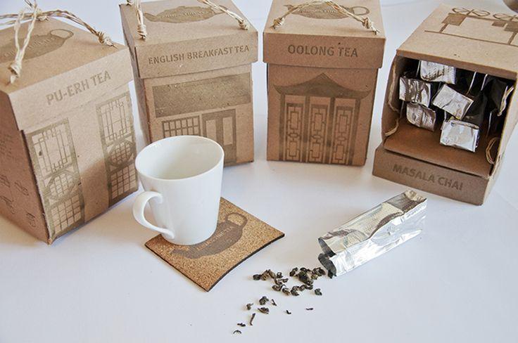 Дизайнер из Торонто Anna J Pateras создала проект упаковки для нового бренда высококачественного чая.   На передней панели каждой коробки изображен типичный чайный магазин страны из которой чай прибыл.  Коробка предназначена для повторного использования в качестве фонарика, коробки для салфеток или кормушки для птиц.  Коробка изготовлена из переработанного картона без использования клея. Все материалы, использующиеся при изготовлении упаковки, являются экологически чистыми…