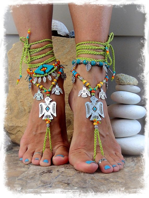 THUNDERBIRD BAREFOOT Sandals teen Ankle Bracelet Native American haak sandalen Cowgirl bruiloft groen enkel wrap sandaal sieraden GPyoga