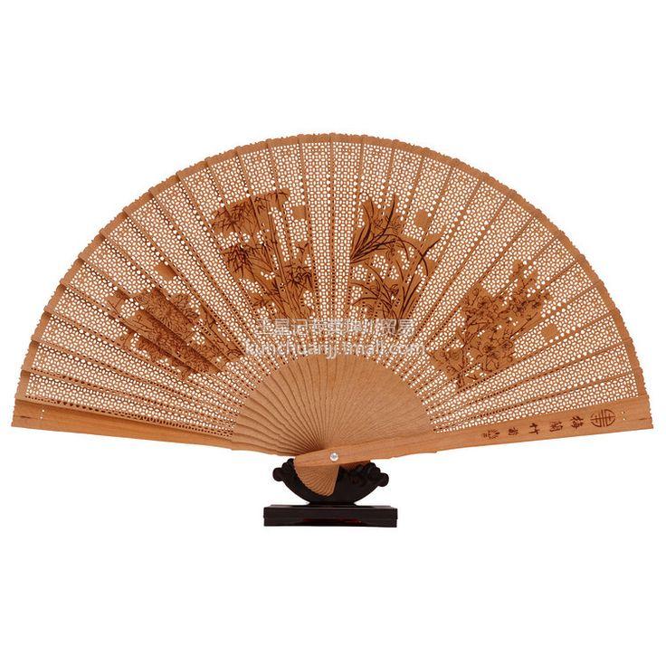 Hangzhou Wangxingji century-old Burmese sandalwood fan 27CM Merlin, bamboo and chrysanthemum - eBoxTao, English TaoBao Agent, Purchase Agent. покупка агент