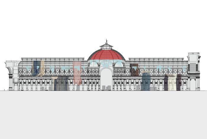 Galleria Vittorio Emanuele II. Sezione longitudinale con allestimento.