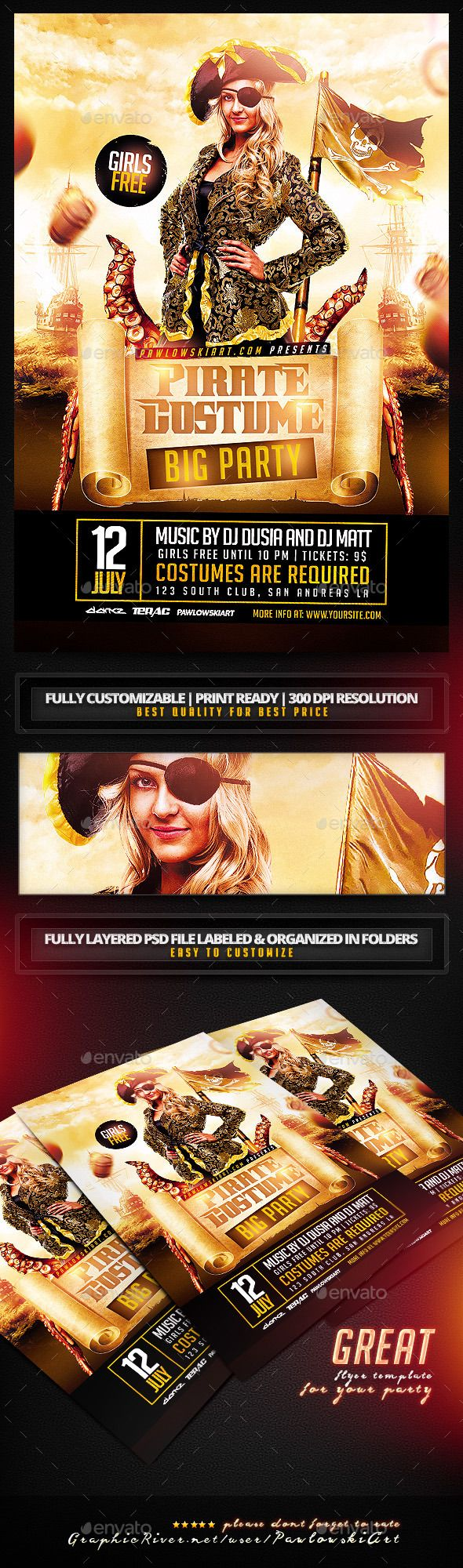 Pirate Costume Party PSD Flyer Template - Clubs & Parties Events