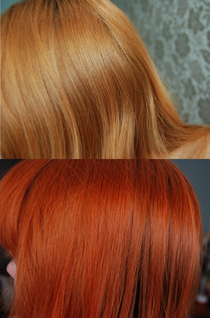 before and after photo of la riche directions hair dye in tangerine on blonde dyed hair - La Rich Coloration