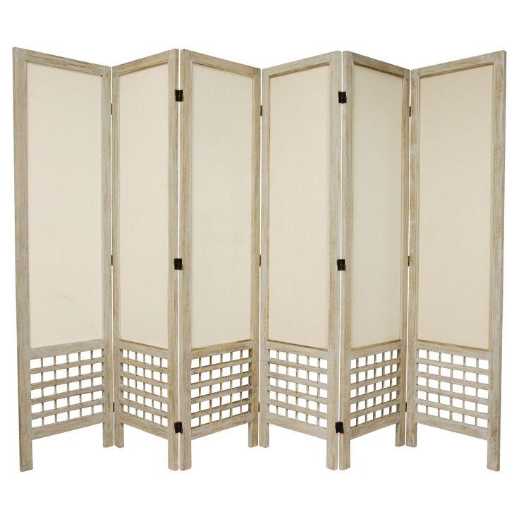 5 1/2 ft. Tall Open Lattice Fabric Room Divider - Burnt White (6 Panels)