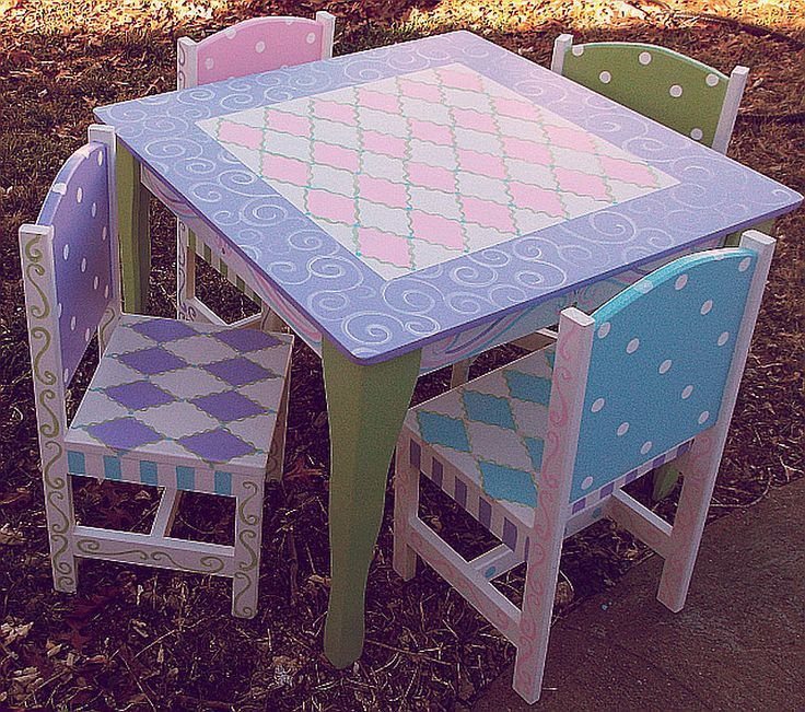 Custom Wooden Childrens Table and Chairs Your by spoiltrottn, $295.00