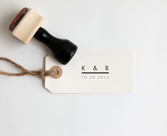 Custom Wedding Stamp with Initials + Date (Wood Mounted) Ultra Minimal Modern Design, Personalized with optional wooden handle (C250)