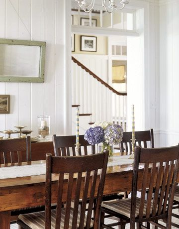 beadboard:  Boards, Farms House, Farmhouse Chic, Decor Ideas, Dining Rooms Chairs, Farmhouse Tables Chairs, Paintings Panels, White Wall, Dining Tables