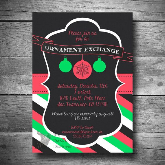 Christmas Ornament Invitation Holiday Party Printable Email Or Text Exchange
