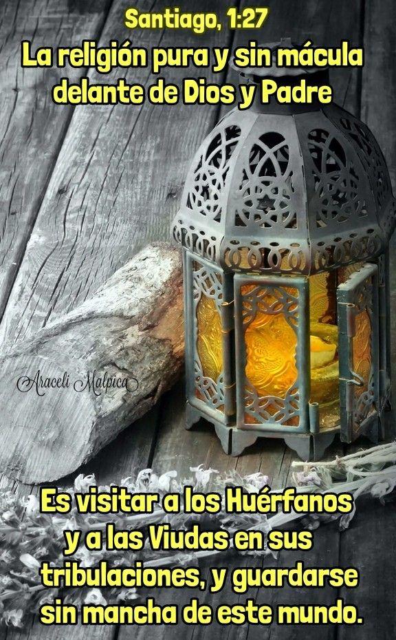 LA RELIGION PURA ES LA DE DIOS Y SERAN TUS BUENOS ACTOS, TU FE Y TU OBEDIENCIA, LAS QUE DIOS MIRARA EN TI.🍃  Santiago, 1:27 - La religión p...