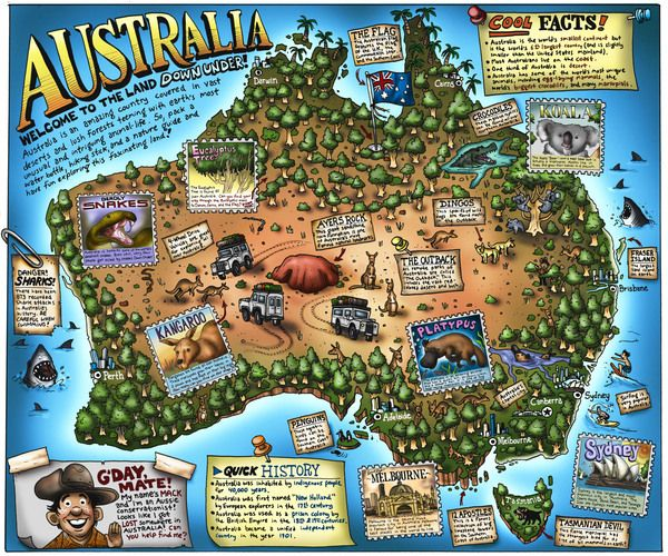 william warren illustrated map of australia