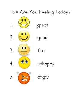 I use this chart in the morning to see how my class is doing. They show me with their fingers 1-5 how they feel.