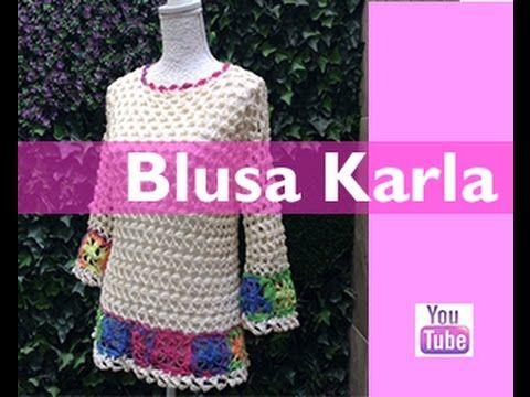 TEJE BLUSA KARLA - Crochet fácil y rápido - Para esta Primavera Verano - YouTube
