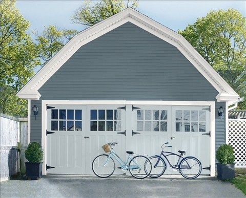 Look at the paint color combination I created with Benjamin Moore. Via @benjamin_moore. Siding: Blue Spruce 1637; Trim: American White 2112-70; Garage Doors: Silver Gray 2131-60.