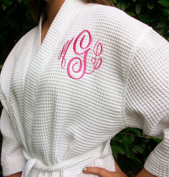 Monogrammed Waffle Robe 8 colors to choose from by maryandlucy, $35.00