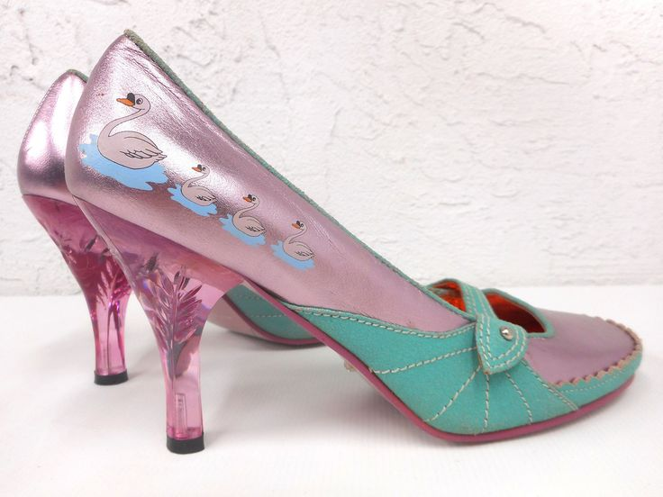 Limited Edition Swans High Heels Dress Shoes Pumps US Size 8, EU Size 39, Family of Swans Swimming, Translucent Heels, Pink and Turquoise