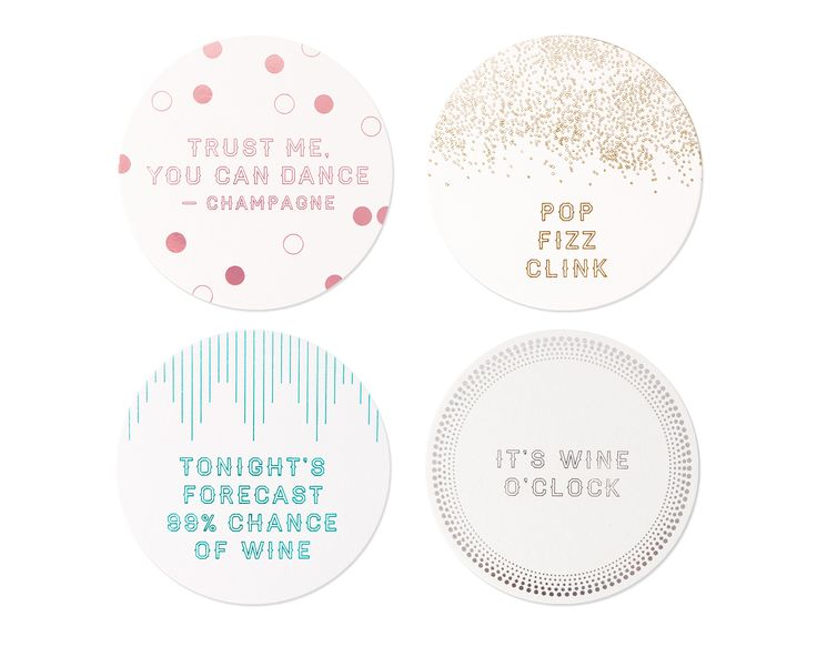 GLAMOROUS COASTERS   Add on the fun with these super cute and classy coasters that'll surely make your guests happily use! #coasters #partysupplies #hostess
