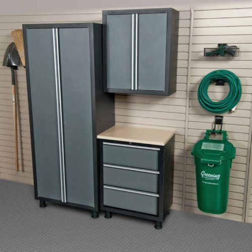 Coleman Garage Cabinet Set With Base Unit, Grey, Gray