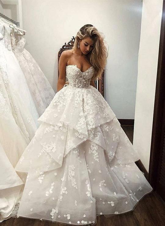 White sweetheart neck applique long prom dress, evening dress #Weddingdresses