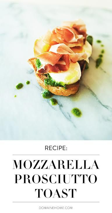 Kitchy Kitchen's recipe for the perfect small plate hors d'oeuvre, a toast topped with arugula pesto, prosciutto, and creamy mozzarella.
