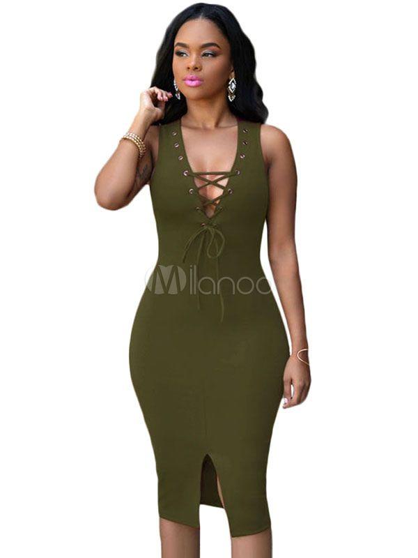 810e8a233c04 Low Cut Bodycon Dress Hunter Green Lace Up Split Dress  Dress ...