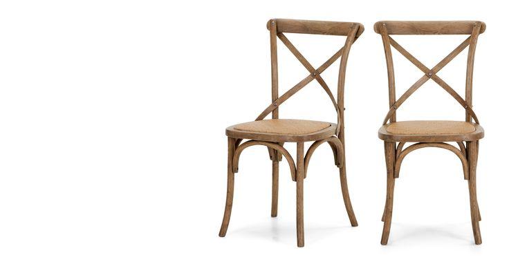 2 x Rochelle, chaises, chêne