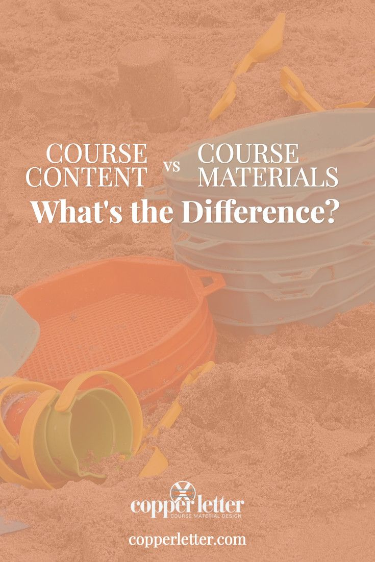 Examining the difference between the terms course content and course materials. Use this to reduce overwhelm when you're creating an online course.
