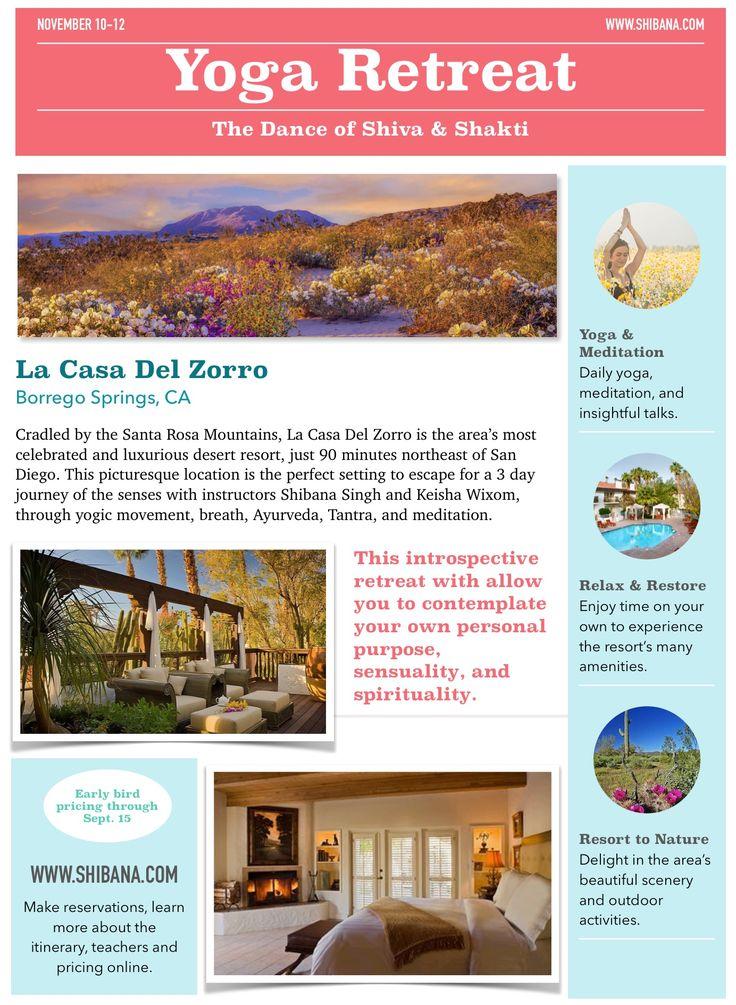 Dharma Yoga Retreat in Borrego Springs, CA • November 10-12, 2017 with Shibana Singh and Keisha Wixom • www.shibana.com