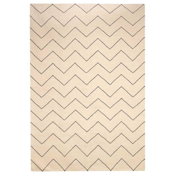 Zigzag tæppe, offwhite/indigo i gruppen Tekstil / Tæpper / Uld hos ROOM21.dk (131582r)