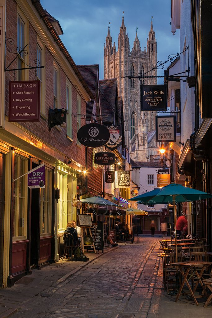 Dusk on Butchery Lane in Canterbury, Kent, England. Looking towards the cathedral.