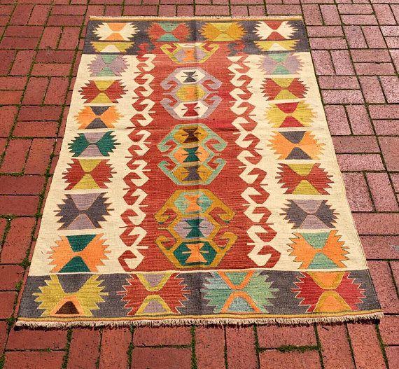 Kilim Vintage Konya Anatolia alfombras turcas tejidas a
