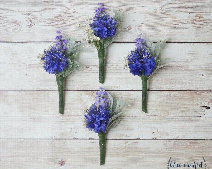 La Ficelle De Lavande Fleur A La Boutonniere Soie Fleur A La Etsy Blue Boutonniere Blue Wedding Flowers Silk Flower Boutonniere