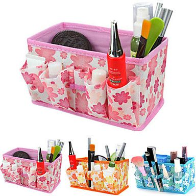 Folding Quadrate Cosmetics Storage Stand Box Makeup Brush Pot Cosmetic Organizer(3 Color to Choose) - USD $ 2.69