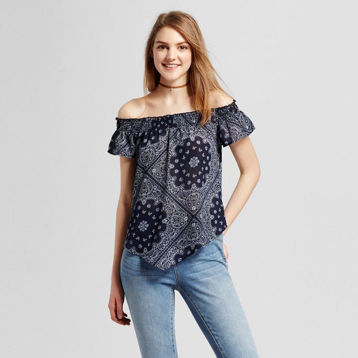 Women's Bandana Print Off the Shoulder Top Navy XL - Self Esteem (Juniors'), Blue