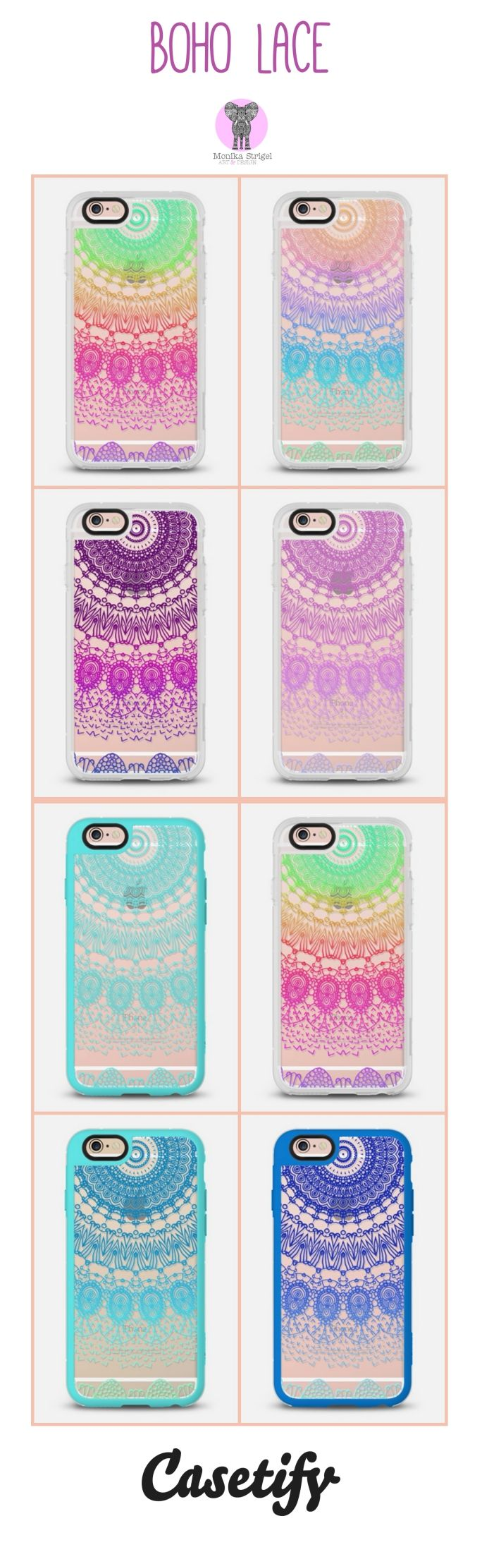 BOHO LACE hand illustrated transparent case by Monika Strigel and Casetify. The case comes for all iPhones and Samsungs! Use the 10 $ off code for your first order and enjoy: qm2i9w Free Shipping worldwide is included!