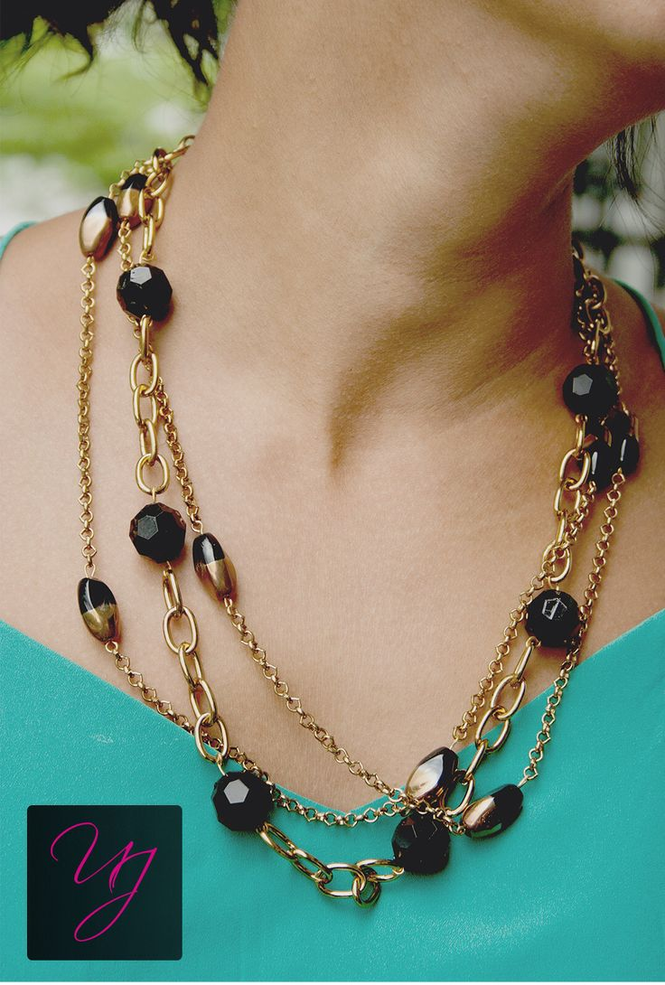 Unnati jewels black and hold necklace perfect for night outs with attire you like. For more details and prices please email at unnatijewels@outlook.com