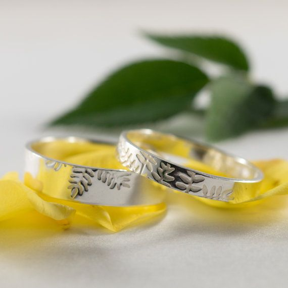 White Gold Ash Wedding Bands: A Set of his and hers 9k White