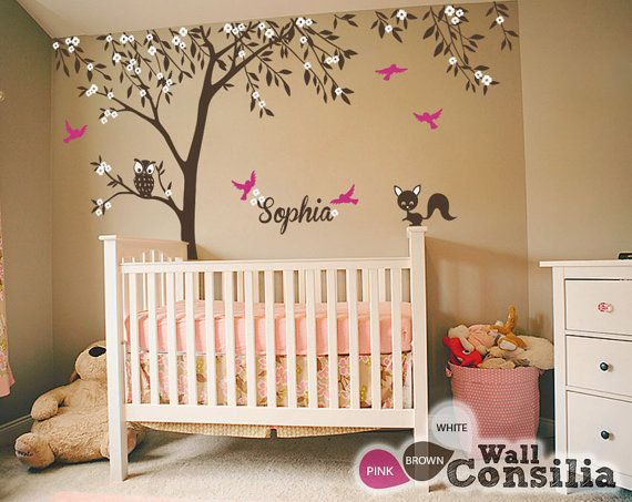 Baby nursery wall decals tree wall decal tree decal for Baby nursery mural