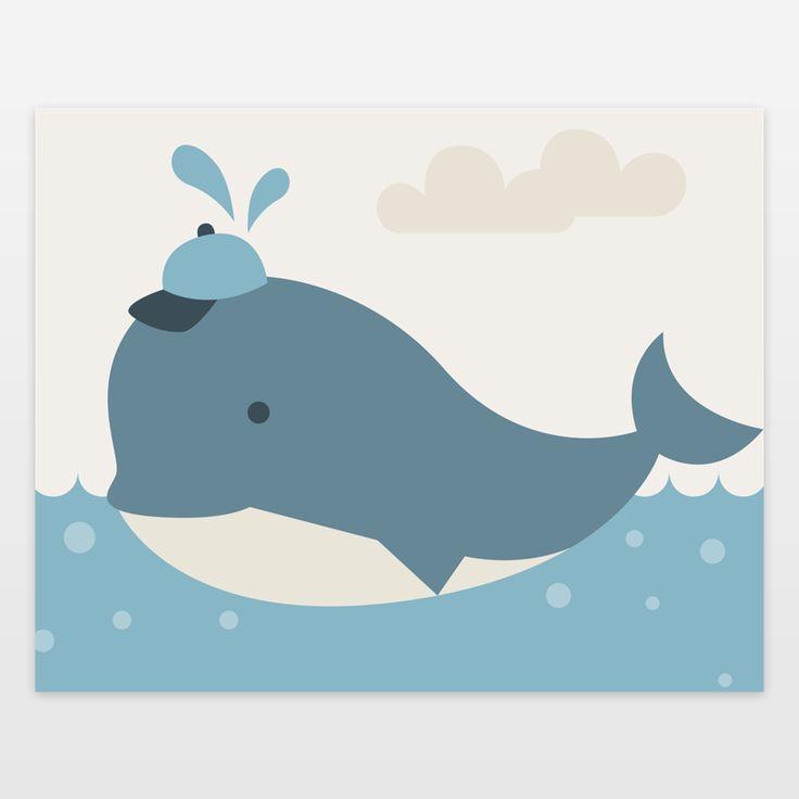 Fun Indie Art from BoomBoomPrints.com! https://www.boomboomprints.com/Product/Texnotropio/Baby_Boy_Whale/Art_Prints/8x10/
