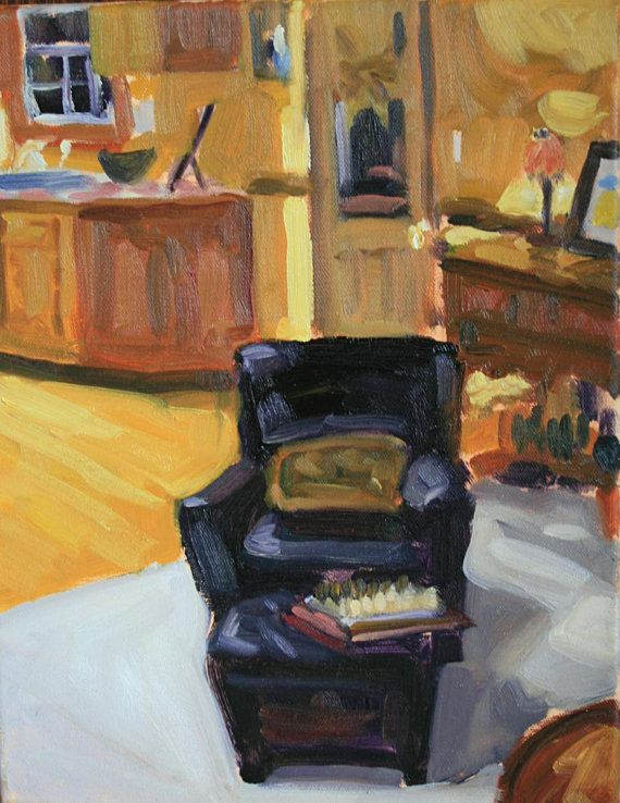 11x14 Original Painting Oil On Canvas Black Leather Chair W Pillow Original Art