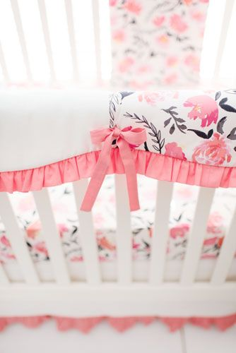 Floral Crib Bedding | Coral Baby Bedding | Baby Girl Bedding