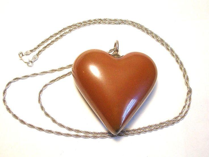 Vintage Royal Copenhagen Anton Michelsen Porcelain Heart Necklace