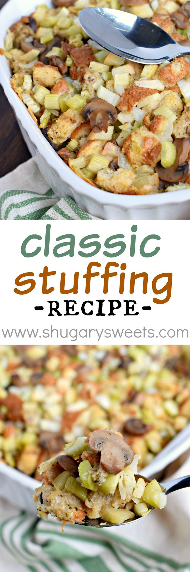 Whether making this for a Sunday night dinner or Thanksgiving, this Classic Stuffing Recipe is delicious! Can be made a day ahead of time too!