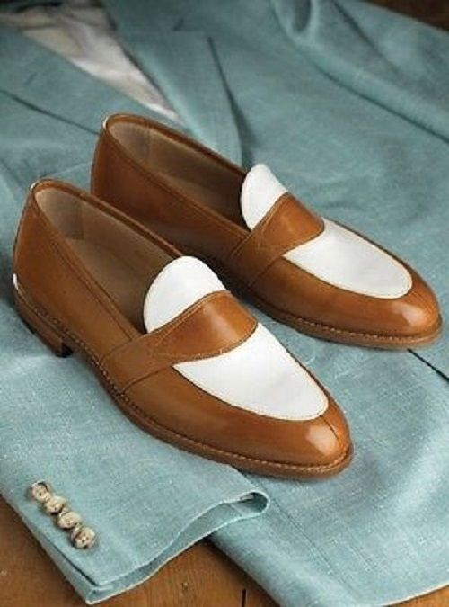 Handmade Men brown and white leather shoes, Men slip ons, Men dress shoes | Clothing, Shoes & Accessories, Men's Shoes, Slippers | eBay!