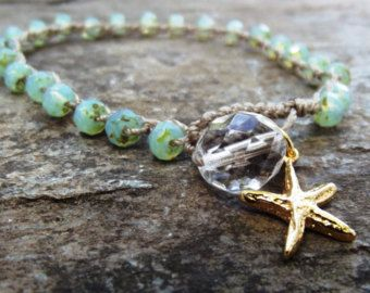 Beachy crochet bracelet -stacker seafoam blue green opal, vermeil gold starfish, Beach boho