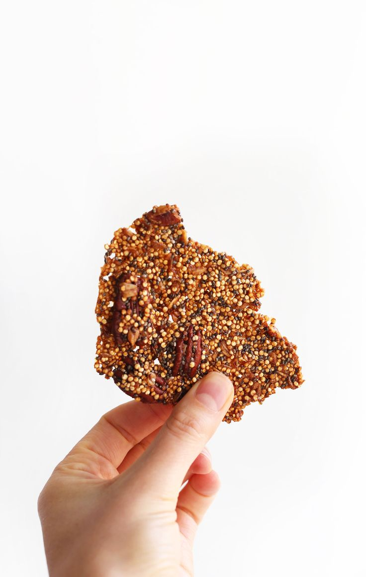AMAZING Naturally Sweetened Quinoa BRITTLE with quinaa, pecans, chia seeds and oats. Naturally sweetened + made with coconut oil!