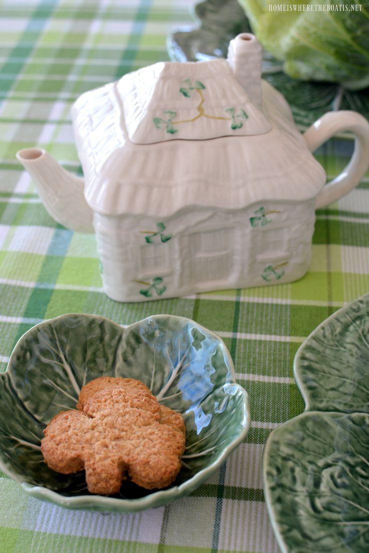 Belleek Irish Cottage Teapot and Irish Oatmeal Biscuit   homeiswheretheboatis.net #StPatricksDay