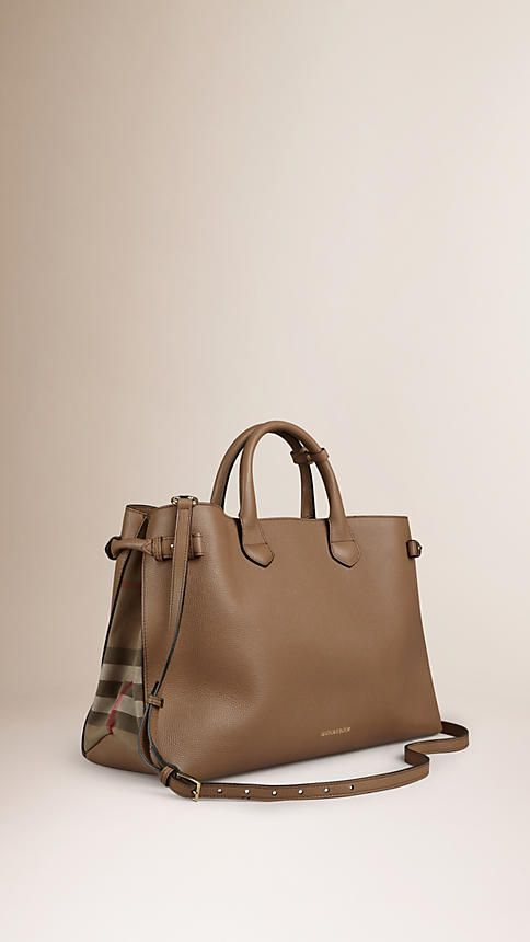 Burberry Dark Sand The Large Banner in Leather and House Check - The Banner in smooth leather and English-woven House check cotton. Made in Italy, the bag is inspired by equestrian styles from the Burberry Heritage Archive. Discover the women's bags collection at Burberry.com