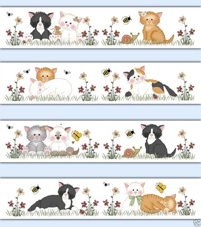 Cat Wallpaper Border Decals Baby Girl Kids Room Kitty Kitten Wall Stickers Decor | eBay