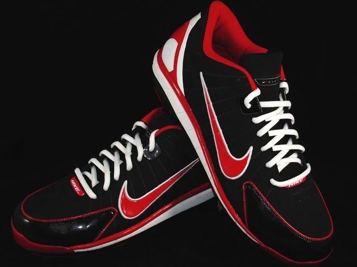 ... nike huarache 2k4 low metal baseball cleats mens size 11 red black